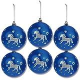Weihnachtsbaumkugeln Pferde, 6 Stück, blau mit silber weißem Glitzer