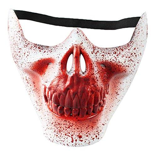 Doitsa 1pcs Maske mit Kopfbedeckung Halloween-Party-Maske Maskerade Maske für Männer Halbes Gesicht schützt die Horror Teufel Maske weiß