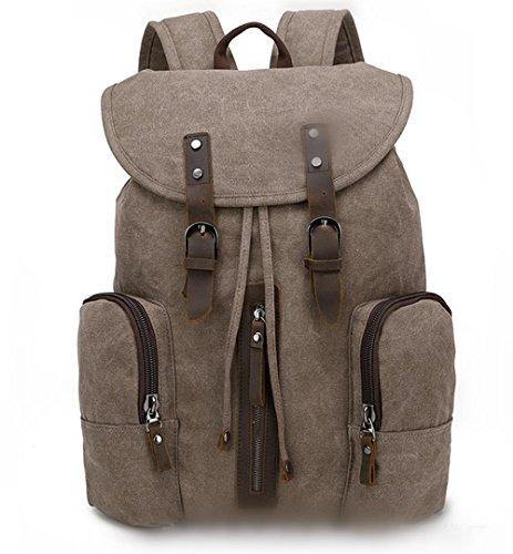 Xiuxiandianju 20L - 35L Canvas Rucksack neue Männer und Frauen Tasche koreanischen Handtasche Rucksack Student Reisetaschen Khaki