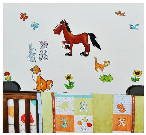 31 tlg. Set XL Wandsticker Bauernhof Tiere - Wandtattoo Pferd Hund Katze Schaf Tier Aufkleber Wandaufkleber - selbstklebend für Wohnzimmer und Kinderzimmer Deko Sticker (Pferd Fliese Wandbild)