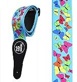 Unique Premium Qualität Soft Touch Pretty Cute Beautiful zarten Farben Bunte Schmetterlinge auf hellen Neon Damen Mädchen Blau Akustische Elektrische Bassgitarre Verstellbare Schulter Gitarrengurt