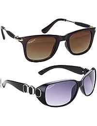 65c2e5b26a4e1 ELEGANTE UV Protected Brown Square and Oversized Purple Women s Sunglasses  Combo