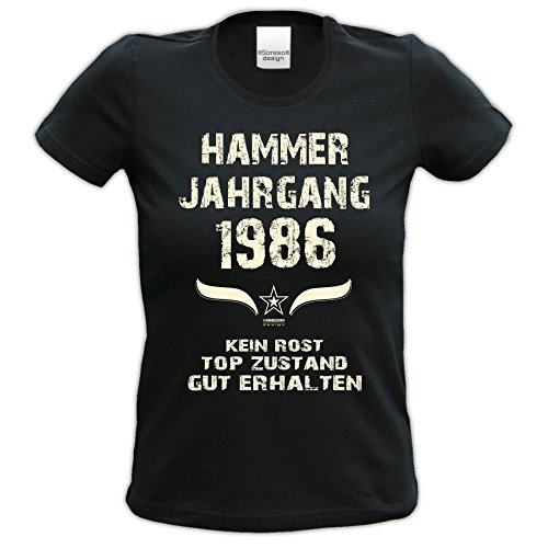Damen Motiv T-Shirt :-: Geburtstagsgeschenk Geschenkidee für Frauen zum 31. Geburtstag :-: Hammer Jahrgang 1986 :-: Girlie kurzarm Shirt mit Geburtstags-Aufdruck :-: Farbe: schwarz Schwarz