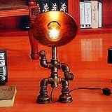 HBA Settore idrico Lampada da tavolo in ferro Creative Art Piccolo Robot Lampada da scrivania Loft Vintage Camera da letto Studio Ristorante Bar tubo di illuminazione Lampade da scrivania 22,5*19,5*45 cm (lampadine escluse)