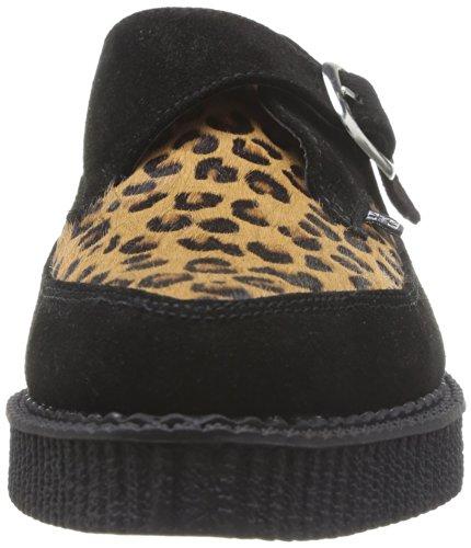 T.U.K. - A8141 Pointed Creeper, Scarpe stringate Unisex - Adulto Nero (Schwarz (Black/Leopard))