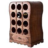 Unbekannt Design Wein Stand Steh Regal 12x Flaschen Aufbewahrung Holz Schublade rustikal Braun Harms 304009