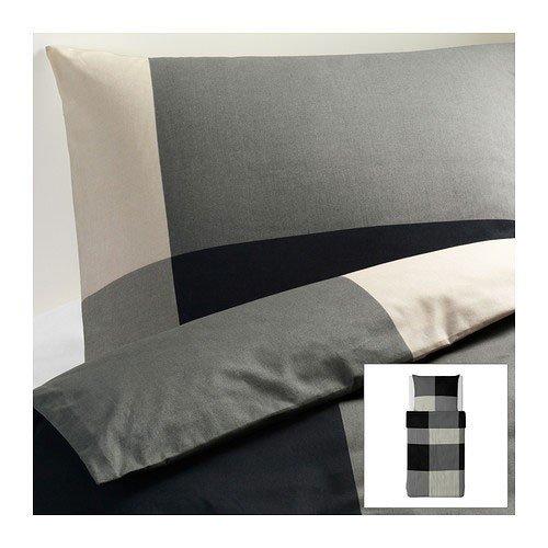 IKEA BRUNKRISSLA Bettwäscheset 2tlg.; schwarz/grau (140cm x 200cm und 80cm x 80cm); 100% Baumwolle