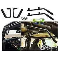 Lantsun anteriore nera posteriore solido acciaio Grab Kit barra della maniglia per Jeep Wrangler Jk 2007-2016 (4 pezzi) J039 (Nero) - Maniglie 4 Pezzi