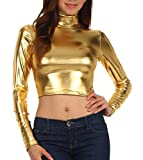 Sakkas 141786 Metallic Flüssigkeit Mock Neck Pullover mit Stehkragen Langarm Crop Top - Made in USA - Gold - M