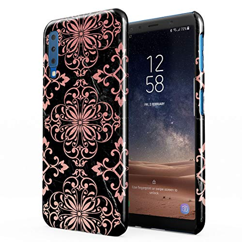 Rose Gold Moroccan Ornaments On Black Marble Dünne Rückschale aus Hartplastik für Samsung Galaxy A7 2018 Handy Hülle Schutzhülle Slim Fit Case Cover