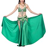 JYR Frauen 3 Stück Sexy Latin Dance Bauchtanz Kleid Profi Performing Kostüme BH & Rock mit Bund - Grün #