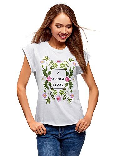 oodji Ultra Mujer Camiseta de Algodón sin Etiqueta con Estampado, Blanco, ES 36 / XS