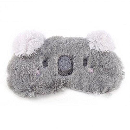 Cute Animal Fluffy Neuheit Schlaf, Augenmaske, Augenbinde mit Ohren 3D, Kaninchen, Koala oder Pinguin Gesicht Licht Schlaf Reise Maske Augenbinde (Grauer ()