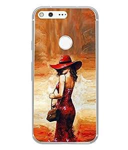 PrintVisa Designer Back Case Cover for Google Pixel (Girl Lady Back Pose Figure Sexy Model Modern Art)