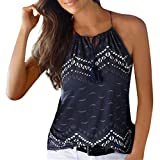 Mujer Blusa verano,Sonnena ❤️ ❤️ sexy off hombro blusa con tirantes Patrón de nacional estilo estampado sin manga casual moda traje de verano fresco (L, MARINO-2)