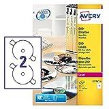 Avery Zweckform L7776-25 DVD-Etiketten, Ø 117 mm, 25 Blatt/50 Etiketten, weiß