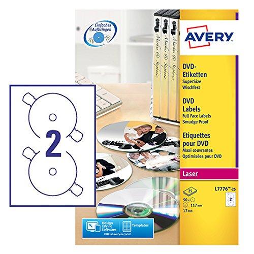 Avery L7776-25 Etichette Full-Face per DVD, 2 Pezzi per Foglio, Stampanti Laser, Diametro 117, 25 Fogli, Diametro 117 mm