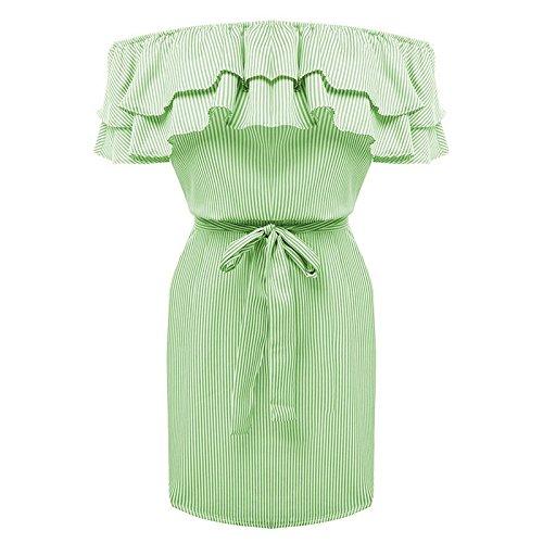 ACVIP Donna Vestito a Righe Balze Estivo,4 Colori Verde chiaro