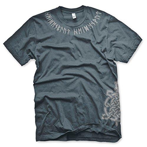 Heidenblut Runenkragen - Tshirt Grau