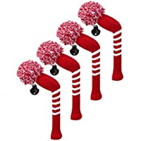 Scott Edward/utilidades fundas de cabeza de palo de golf híbridos, 4 piezas Paquete, rayas, hilo acrílico double-layers de punto, de punto con giratorio número etiquetas, 9 colores opcionales, Crimson Red