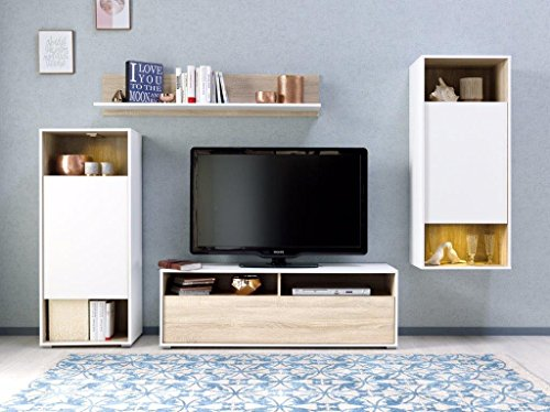 Wohnwand Eiche modern - Weiß / Eiche Made in Germany