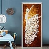 Türtapete selbstklebend Wasserdicht PVC 77x200cm Abnehmbar TürPoster Fototapete Holzwand Türaufkleber Wandbild für Tür, Wohnzimmer, Schlafzimmer, Küche und Bad (Tänzerin)