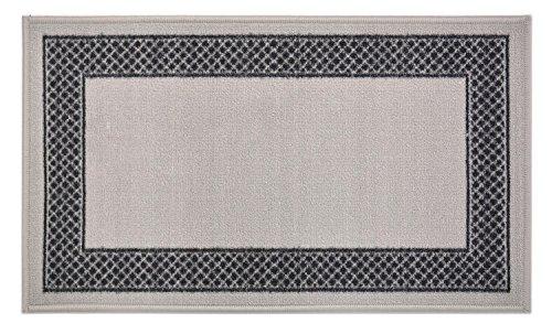 Gummi Meander Design Läufer Teppiche Griechisch Schlüssel Italienisch Meander pinoletti Border Paisley de Lis, Synthetisch, Grey Black Pinoletti Border, 18
