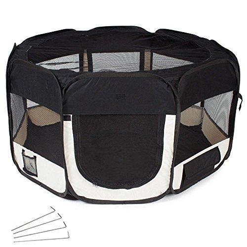 Oxford Welpenauslauf faltbar Welpenlaufstall Tierlaufstall für Hunde Hasen Meerschweinchen Katzen für innern oder außen, 8 Elemente,125 x 125 x 64cm,Schwarz