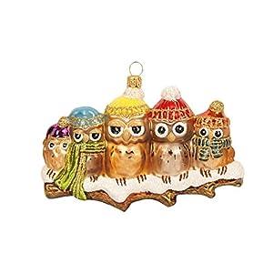 Christbaumkugeln Figur ( Eulen Familie 13cm ) Weihnachtskugeln Weihnachtsbaumschmuck Christbaumschmuck Deko Glas Weihnachtsbaum