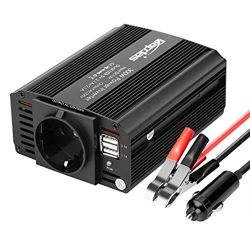 Bapdas 300W Kfz-Wechselrichter / Spannungswandler DC 12 V auf AC 230 V, 220V inkl. USB-Anschlüssen (4,2 A) (Kabel Für Power Inverter)