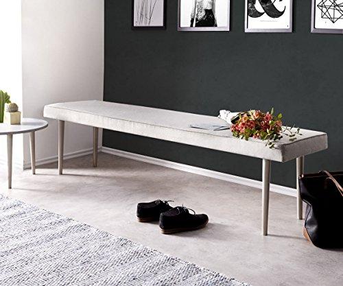 DELIFE Esszimmerbank Metropolitan Grau 180x40 cm gepolstert Sitzbank