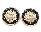 Bastel Express 5 Schwarze Knöpfe mit goldfarbenen Wappen DIY Knopf Verschiedene Größen (25mm)