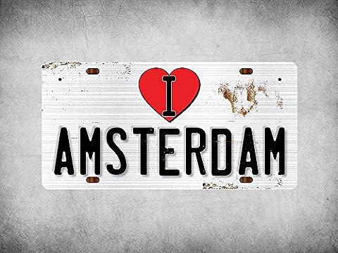 WP_ILC_002 I Love (Heart) AMSTERDAM (rusty metal style design) - Metal Wall Plate