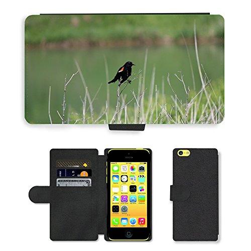 Just Mobile pour Hot Style Téléphone portable étui portefeuille en cuir PU avec fente pour carte//m00139664perruche oiseau Merle noir extérieur//Apple iPhone 5C