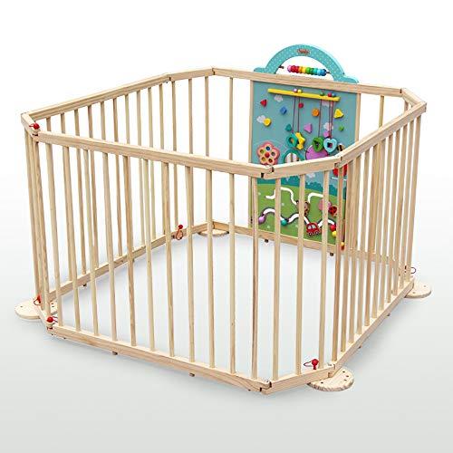 SSLC Laufgitter 8-eckig klappbar Tür bestehend aus 8 Elementen, Individuell formbar Kinder Laufstall Absperrgitter(Beige)