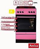 Amica SHC 11508 Pi Standherd / 50cm / Freistehend / Pink / Glaskeramikochfeld mit 4 Feldern / 67 Liter Backofen / Steam Clean Backofen / Cool Door 3 / Geschirrwagen / Restwärmeanzeige Kochfelder / inkl. je 1 Backblech & Grillrost