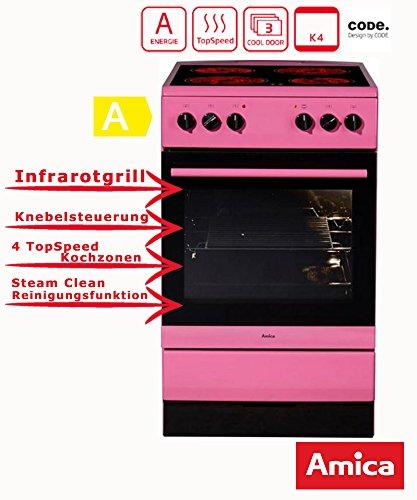 Amica SHC 11508 Pi Standherd / 50cm / Freistehend / Pink / Glaskeramikochfeld mit 4 Feldern / 67 Liter Backofen / Steam Clean Backofen / Cool Door 3 / Restwärmeanzeige -