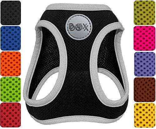 DDOXX Hundegeschirr reflektierend Air Mesh | Step-In | für große, mittelgroße, mittlere & kleine Hunde | Geschirr Hund | Katze | Brustgeschirr | Softgeschirr | Zubehör | Schwarz, Größe C - Air-mesh-gewebe