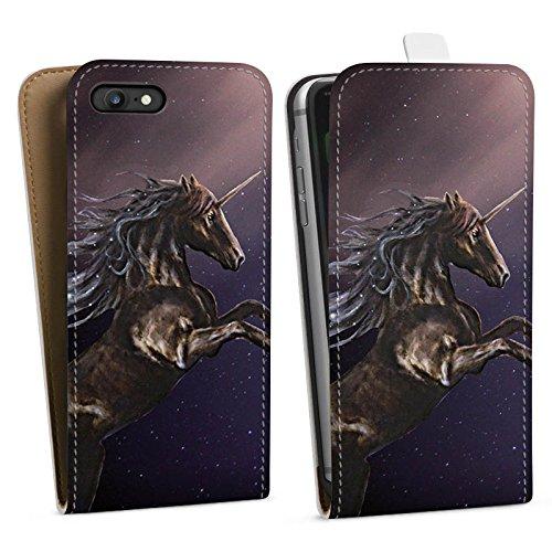 Apple iPhone X Silikon Hülle Case Schutzhülle Einhorn Unicorn Schwarz Pferd Downflip Tasche weiß