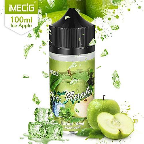 IMECIG 100ML Vape LíquidoManzana de Hielo Jugo Premium Ecig Vape 70/30 E Líquido para Todos Los Cigarrillos...