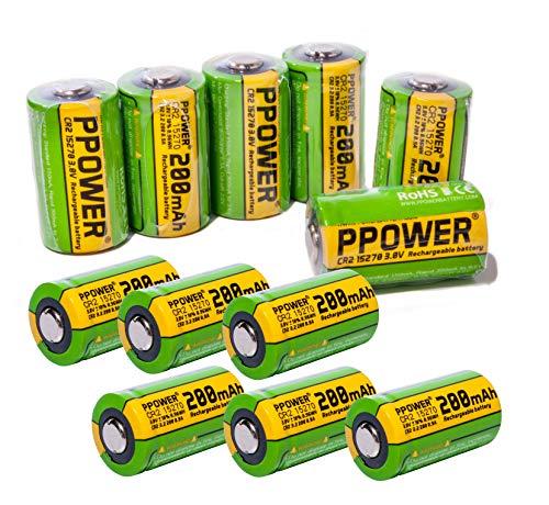 PPOWER 3V Real Capacity 200mAh CR2 15270 15266 Wiederaufladbare LiFePO4 Akkus für Polariod Kamera, Bushnell Golf Entfernungsmesser - Cr2 Lithium-batterie-ladegerät