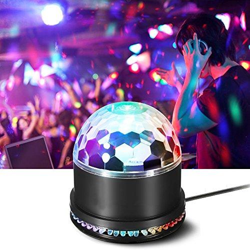 Korostro Discolicht, Discokugel LED Party Lampe 7 Farbe Discolampe Partyleuchte RGB Disco Lichteffekte Musikgesteuert Partylicht Deko für Kinder Partei Geburtstagsfeier Bar Weihnachten Club Pub, 12W