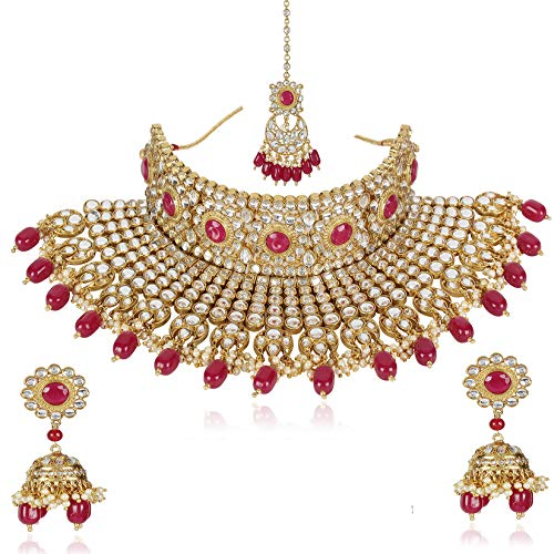 Shining Diva Fashion Latest Traditional Design Bridal Choker Kundan Necklace Set for Women Jewellery Set for Women (Red) (10559s)