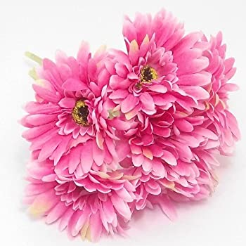 6 x artificial single stem hot pink gerbera with big bloom very bunch of 6 hot pink gerbera stems with large 4 blooms weddings homes grave mightylinksfo