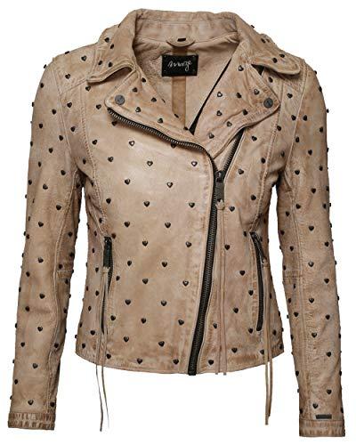 Maze Damen Biker-Lederjacke Mit Asymmetrischem Reißverschluss Heart Creme L