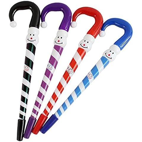 Papelería creativa vacaciones estudiante regalos Hillento 10PCS navidad muñeco de nieve paraguas Bolígrafo, color al azar