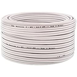 DCSk - 15m - 2 x 2.5mm² - Câble Audio Blanc pour Enceintes - Câble HP en Cuivre OFC pour HiFi et Hi-FI Embarquée - Fabrication Allemande - Conducteur 99,99% cuivre avec Isolant