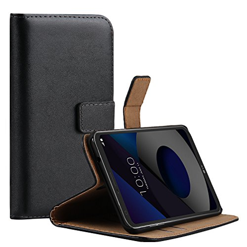 Ambaiyi Flip Echt Ledertasche Handyhülle Brieftasche Hülle Schutzhülle für LG Q6 , Schwarz