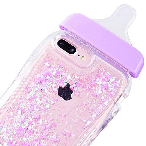 WE LOVE CASE iPhone 6 Plus / 6s Plus Hülle Weich Silikon iPhone 6 Plus 6s Plus Schutzhülle Handyhülle Im Transparent Durchsichtig Kristall klar Glitzern Funkeln Quicksand Treibsand Liquid Flüssig Baby Lila