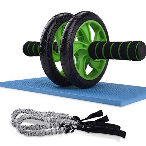 IREGRO Bauchtrainer Roller, AB Wheel Roller, Wheel für Fitness mit Knieauflage und Widerstandsbändern,für Männer und Frauen